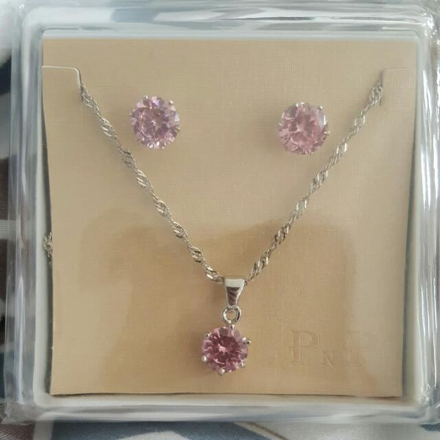 Pink Jewel Earring And Necklace Set