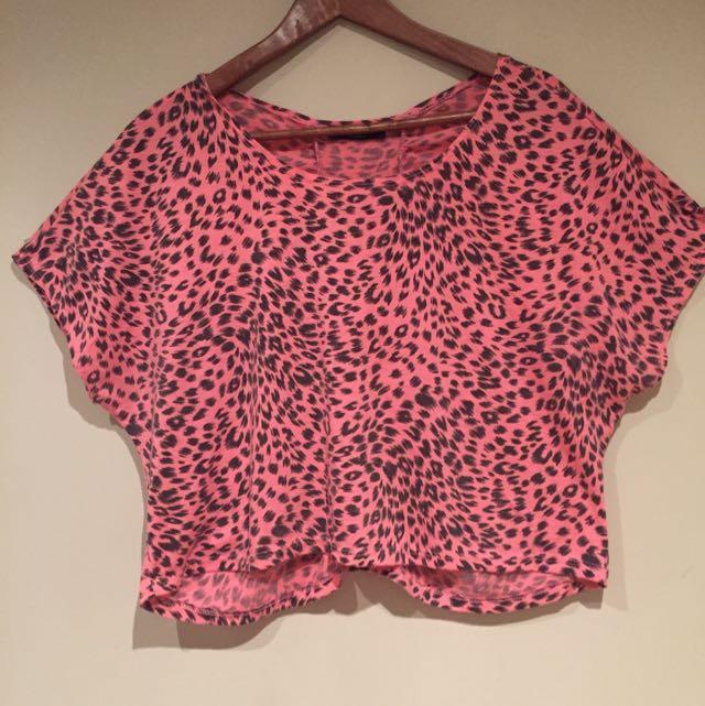 Pink Leopard Print Crop Top