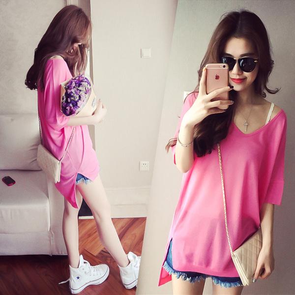 韓版寬鬆顯瘦糖果色休閒針織T恤上衣(全新)