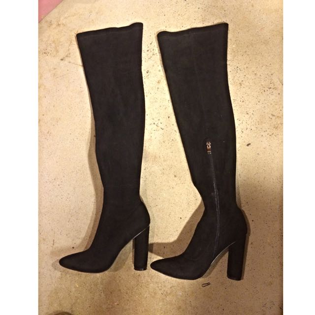 Thigh High Suede Boots/Heels Size 6