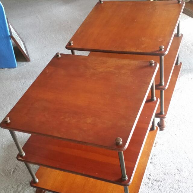 Two Wood & Metal End Tables