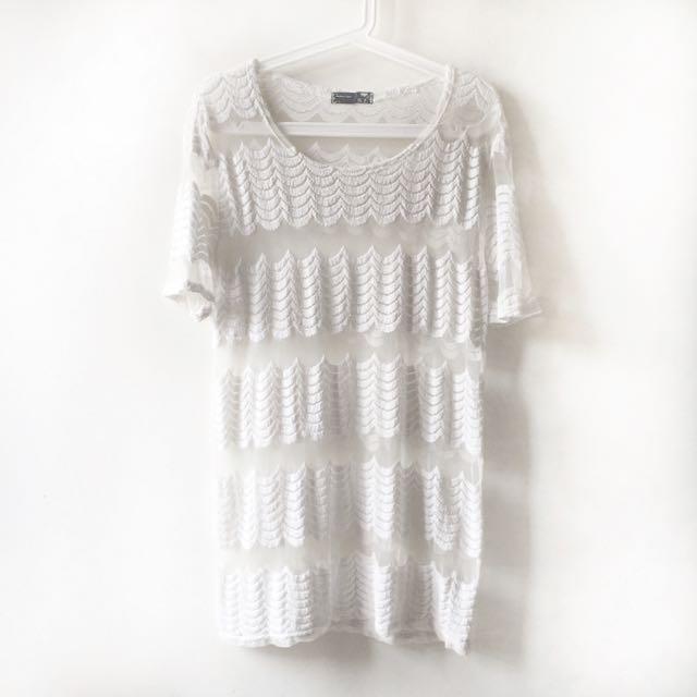 White See-through Stripe Lace Blouse