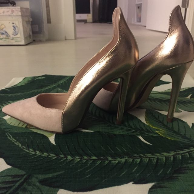 Zara Heels In Rose Gold And Soft Pink