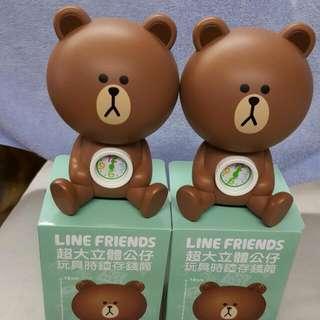 LINE FRIENDS 超大立體公仔 玩具時鐘存錢桶