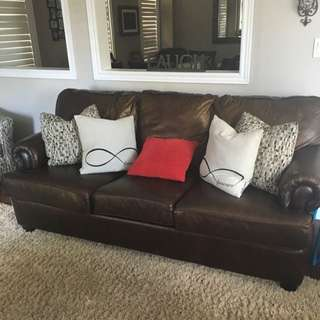 Brown Leather Sofa along with 2 Matching Chairs