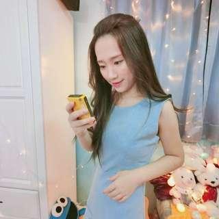 格紋淺藍時尚洋裝
