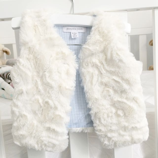 0-3 mths Pumpkin Patch Faux Fur Vest