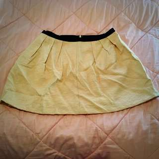 Cream (gold) Skirt w/ Black Waistline