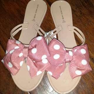 Polka Dot Bow Tie Slippers