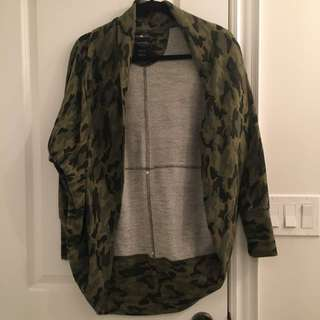 Oversized Army Cardigan - Blue Notes