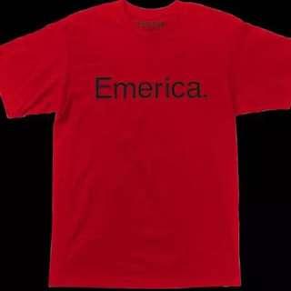 特惠滑板品牌正品Emerica經典logo Tee 紅色字母 短袖潮流滑板