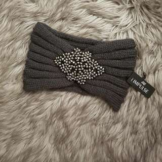 NEW Knitted Headband With Beaded Embellishment Grey With Tags