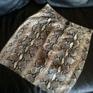 Leather Snakeskin Skirt