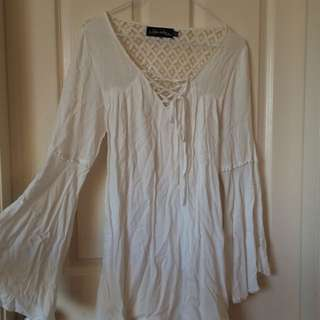 Boho White Dreess Open Back nautical Front