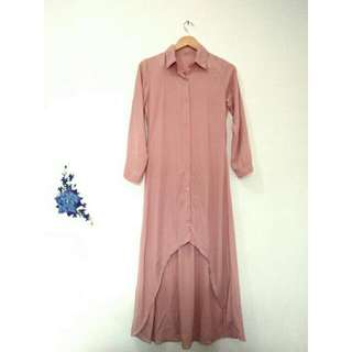 Asimetris Long Tunic Pink