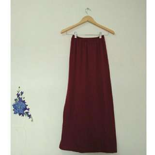 Skinny Maxi Skirt Maroon & Light Grey