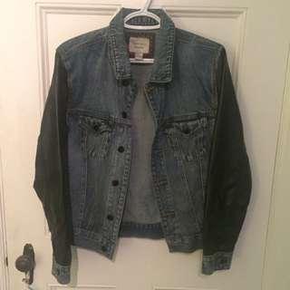 Jean Jacket W/ Leather Sleeves