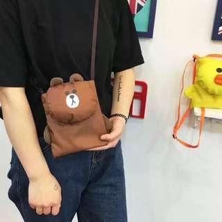Cute Line Friends Brown Sally Sling Bags