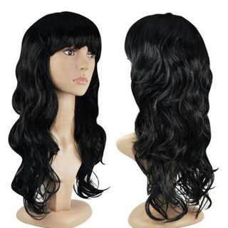 Women's Fashion Wig Curly Hair Wigs With Bangs Black Long Hair Wig (Color: Black)