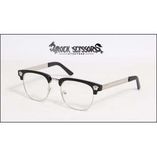 Rock scissors-[韓國製]VERSACE感-懷舊造型 復古簡約 大方框 半框平光眼鏡