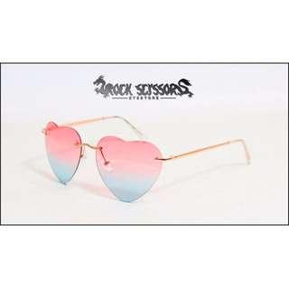 Rock scissors-[台製]歐美英倫街拍Vaporwave 80's 復古漸層變色 愛心造型眼鏡