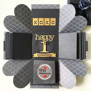 Happy 1st Anniversary Handmade Explosion Box Card