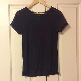 H&M Sheer Shoulders/ Sleeves Black Tshirt