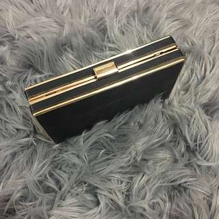 Colette Black Leather Clutch