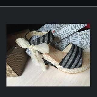 Bling黑白相間綁帶楔型鞋