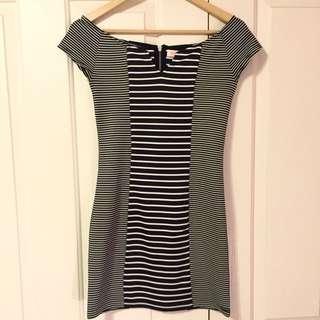 BNWT Off Shoulder Black/ White Stripe Dress