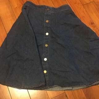 排釦單寧深色牛仔裙