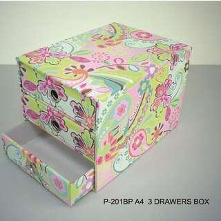 Hard corrugate recycled paper 3 drawer chest 英國維多利亞花A4尺寸三抽盒