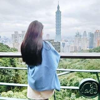 韓國淺藍色大衣