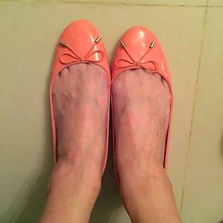 ✨Zara 粉橘低跟鞋✨