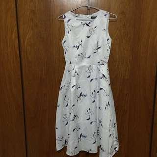 無袖印花收腰連身裙 白