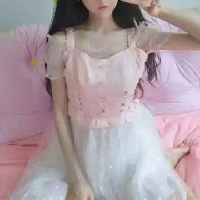 日系粉紅連身裙(衣+裙