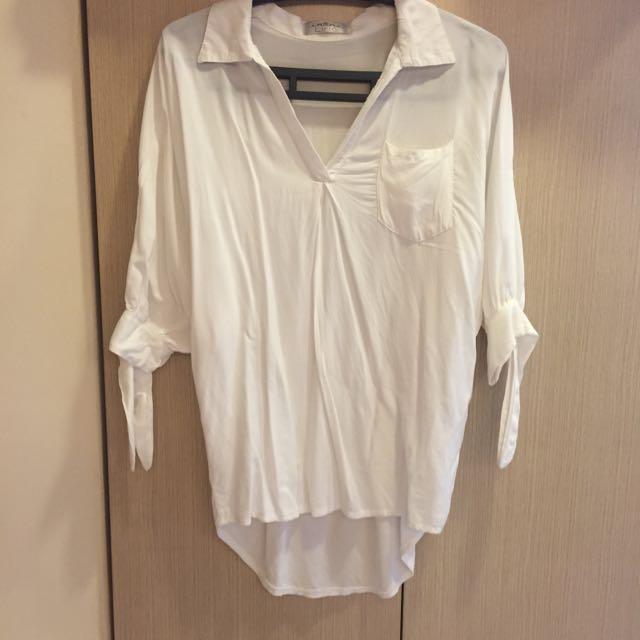 保留-男友風口袋前短後長五分袖襯衫-白