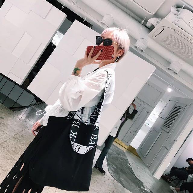 💦韓國酷女孩字母單肩手提包帆布/網眼