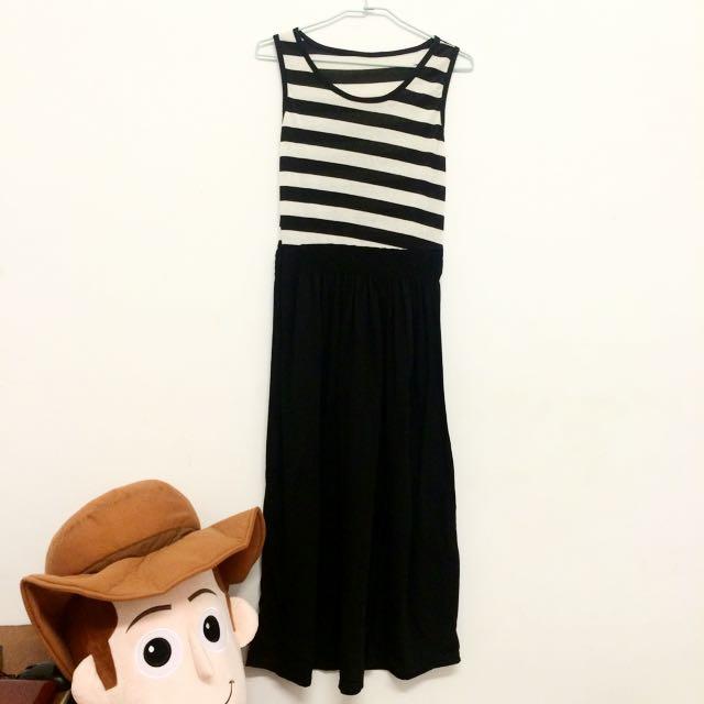 無袖橫條紋修身長裙