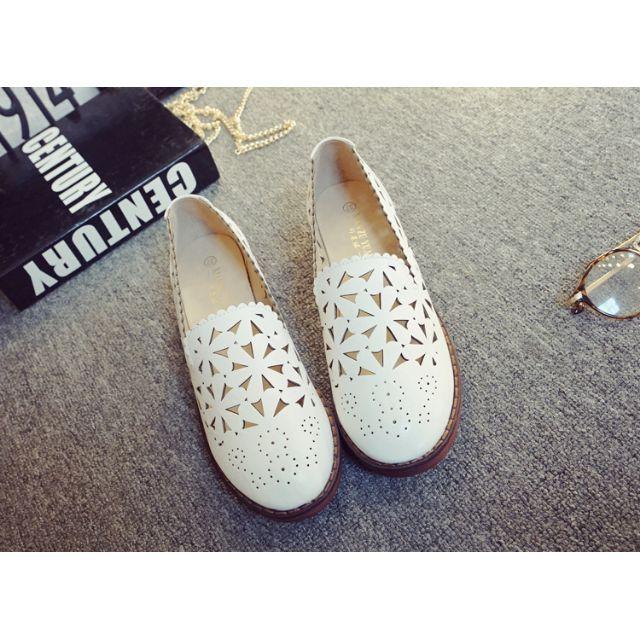 免運 鏤空加厚防滑小白鞋 跟高約3cm