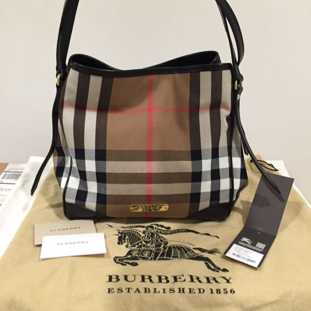 Authentic Burberry Canterbury Check Tote Small In Black