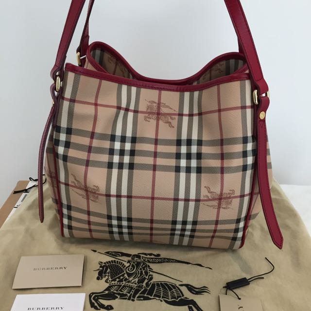Authentic Burberry Canterbury Tote In Red