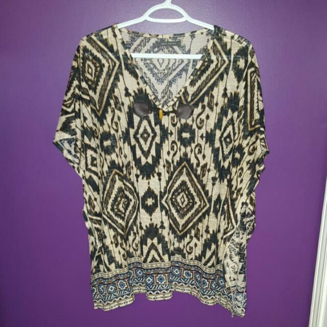 Aztec Print Pancho Style Shirt