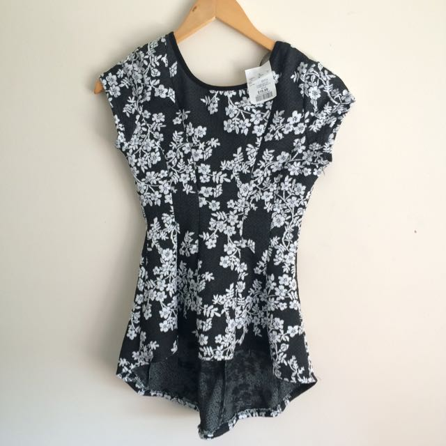 Black And White Floral High & Low Peplum Top