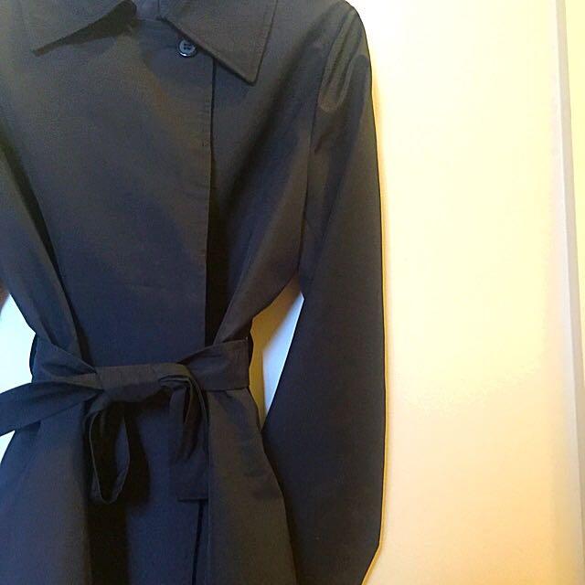 Black Polyester Overcoat