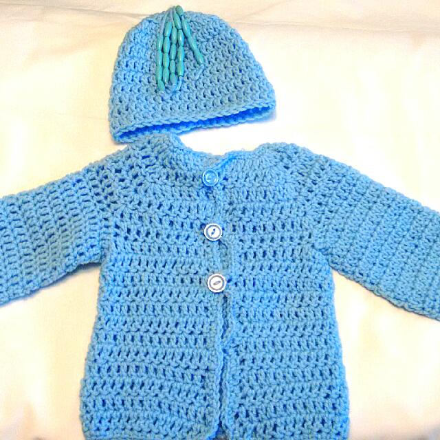 Blue Knit Cardigan And Bead Hat