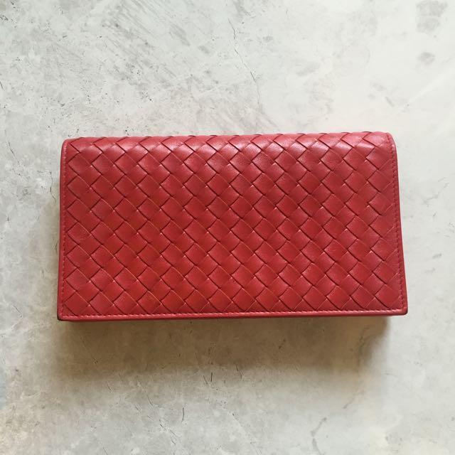 (二手精品)BV 紅色長夾