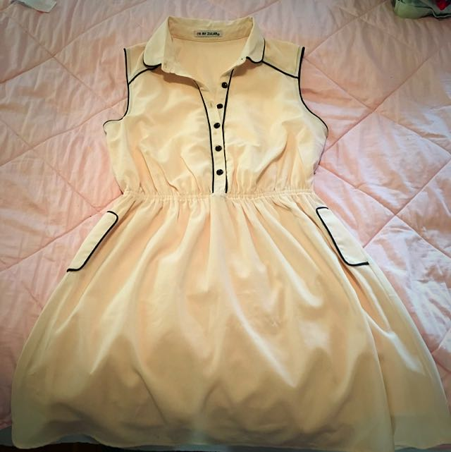Cream And Black Dress