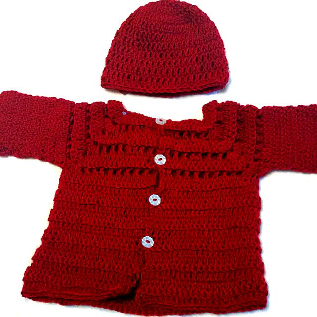 Deep Red Knit Cardigan And Hat