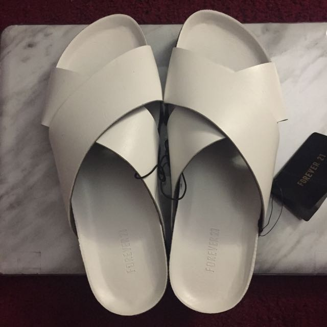Forever 21 White Faux Leather Slides